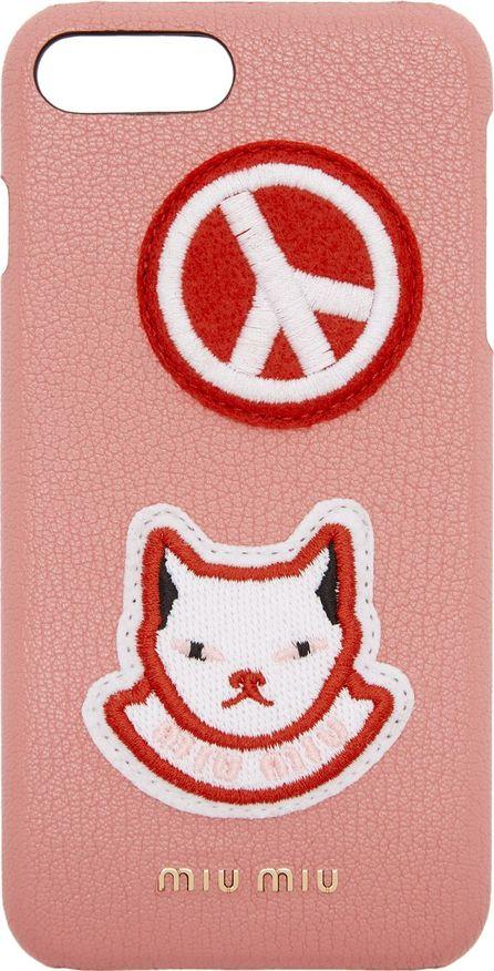 Miu Miu Pink Cat Patch iPhone 7 Plus Case