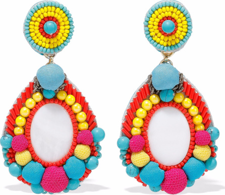 Ranjana Khan Faux pearl, pompom and bead clip earrings