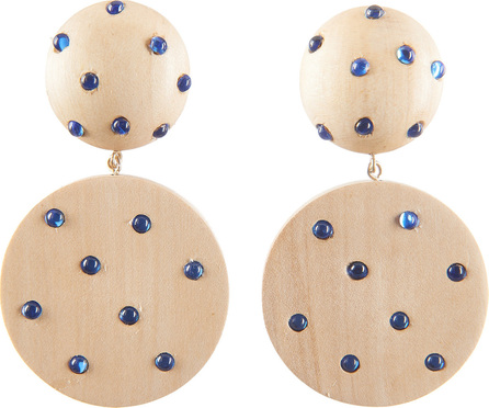 Rebecca de Ravenel Marina White Wood and Denim Earrings
