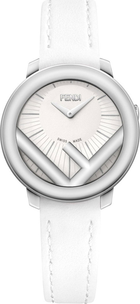 Fendi 28mm Run Away Watch with Leather Strap, White