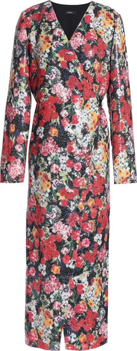 GOEN.J Sequined floral-print crepe wrap dress