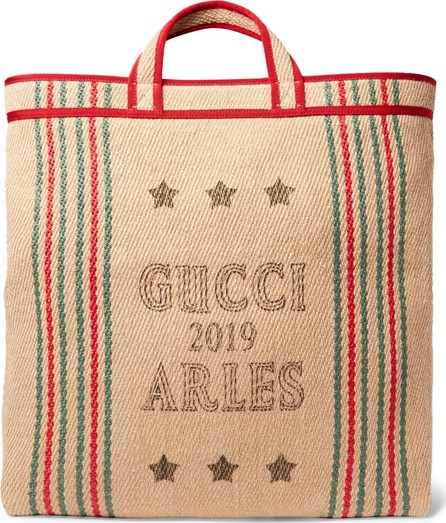 Gucci Grosgrain-Trimmed Printed Hessian Tote Bag