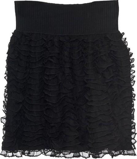 Azzedine Alaia Ruffle Lace & Knit Mini Skirt