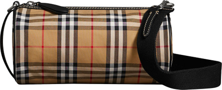 Burberry London England The Small Vintage Check and Leather Barrel Bag