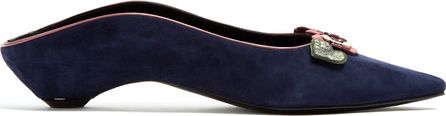 Fabrizio Viti Flower-appliqué suede backless loafers
