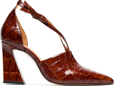 Ganni Brown lina 90 leather pumps