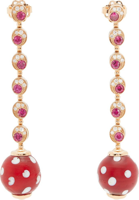 Francesca Villa Pois Pois diamond and ruby rose-gold earrings