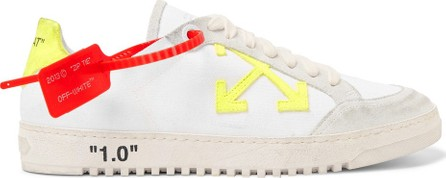 Off White 2.0 Distressed Suede-Trimmed Canvas Sneakers