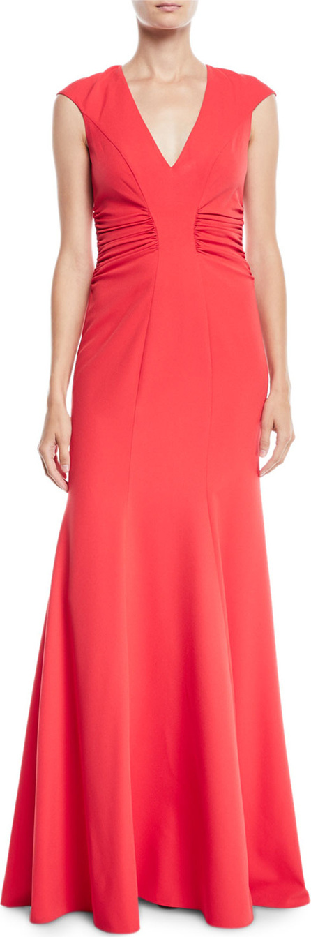 HALSTON HERITAGE Crepe Gown w/ Ruched Details