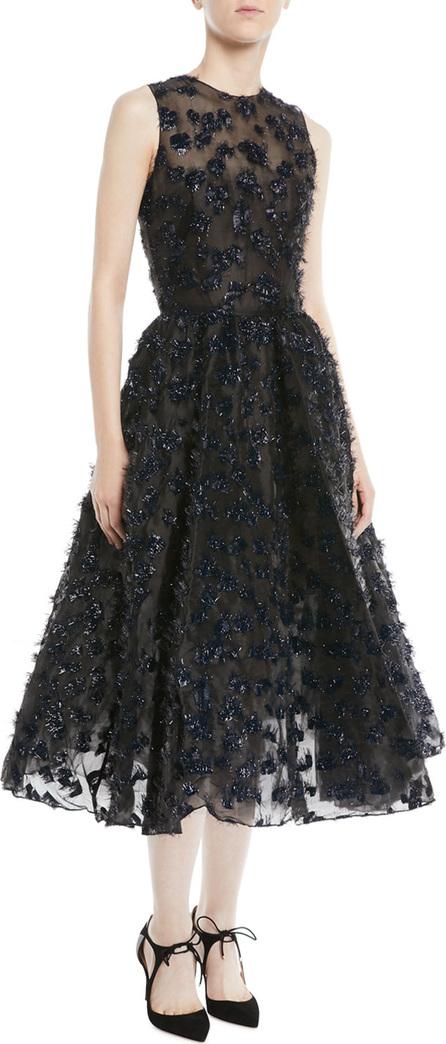 Oscar De La Renta Sleeveless Embroidered Fil Coupe Tea-Length Cocktail Dress