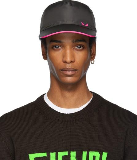 Fendi Black & Pink 'Bag Bugs' Leather Cap