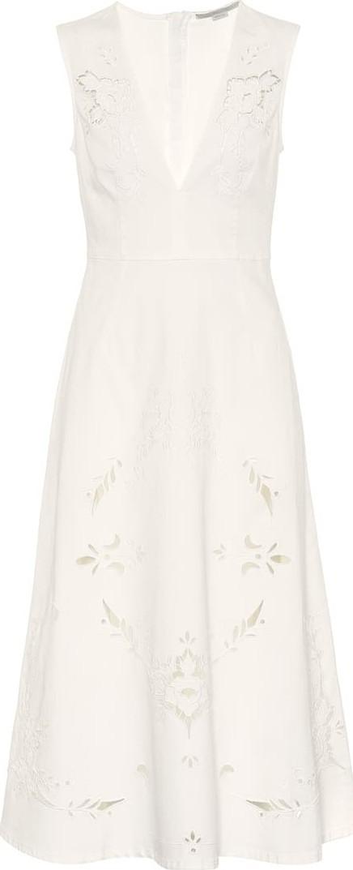 Stella McCartney Embroidered denim midi dress