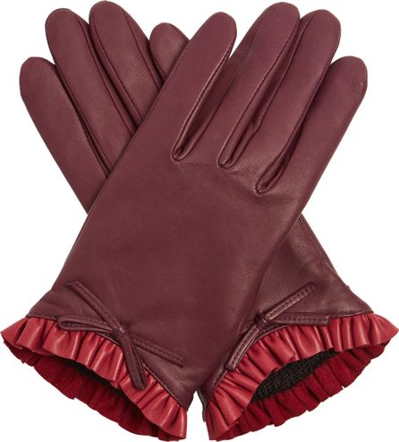 Agnelle Ruffle-trimmed bi-coloure leather gloves
