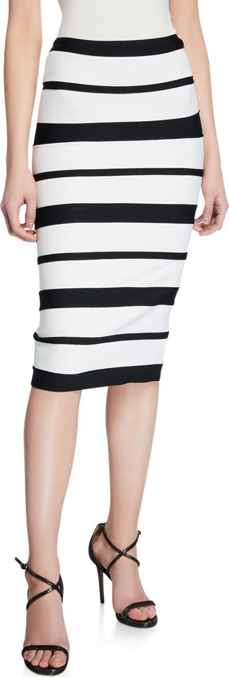Herve Leger Striped High-Rise Bandage Skirt