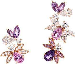 Anyallerie 'Bumble Bee' diamond gemstone 18k rose gold mismatched earrings