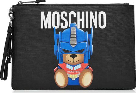 Moschino Printed Leather Zip Clutch