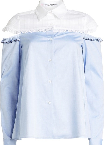 Sandy Liang Cotton Shirt with Cut-Out Shoulders