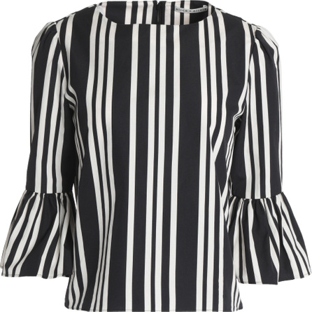 Alice + Olivia Bernice striped cotton-poplin blouse