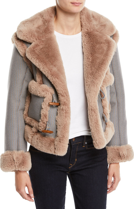 Opening Ceremony Insomniac Reversible Faux-Fur Houndstooth Jacket