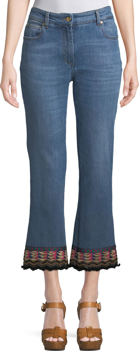 Etro Cropped Jeans w/ Passementerie Detail