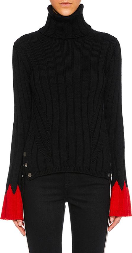 Alexander McQueen Turtleneck Long-Sleeve Contrast-Cuff Wool Knit Sweater