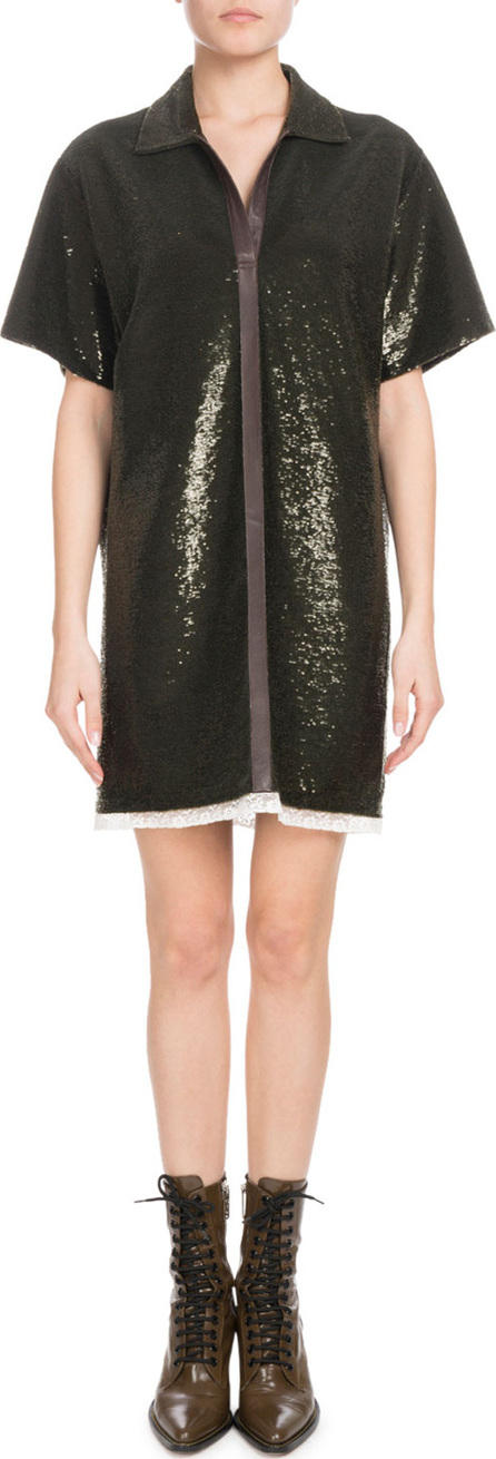 Chloe Short-Sleeve Split-Neck Sequined Polo Dress with Leather Trim
