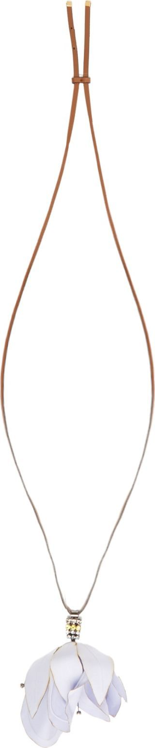 Marni Floral-pendant leather necklace