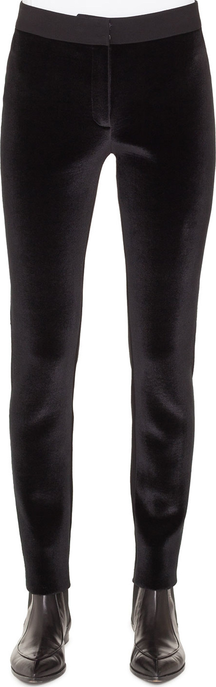 Akris Punto Mara Velvet Front Stretch-Knit Back Tapered-Leg Pants