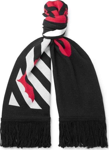 Off White Fringed Logo-Intarsia Knitted Scarf