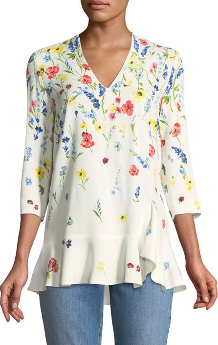 Escada 3/4-Sleeve V-Neck Floral-Print Top