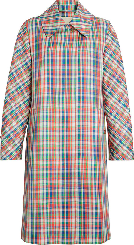 Burberry London England Micro Check Silk Blend Car Coat