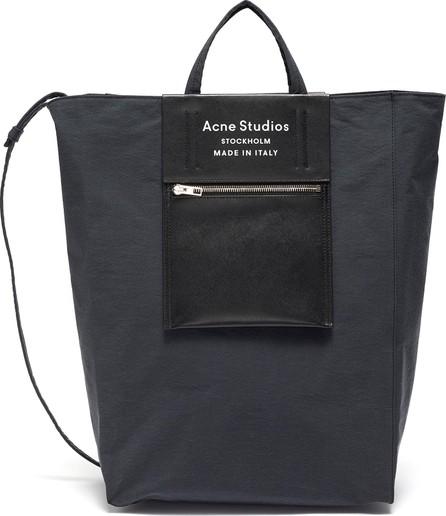Acne Studios Logo zip pocket leather panelled large tote bag