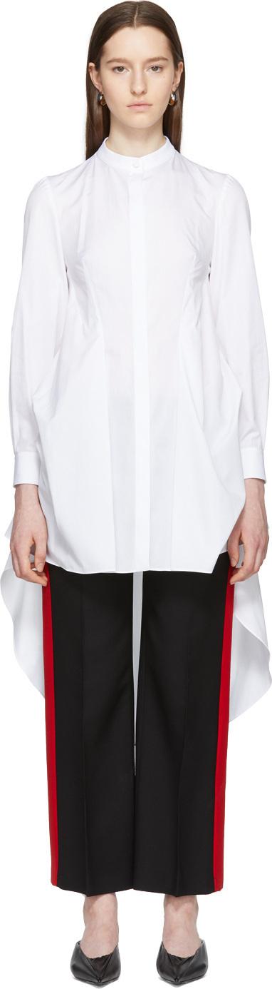 Alexander McQueen White Poplin Ruffle Shirt