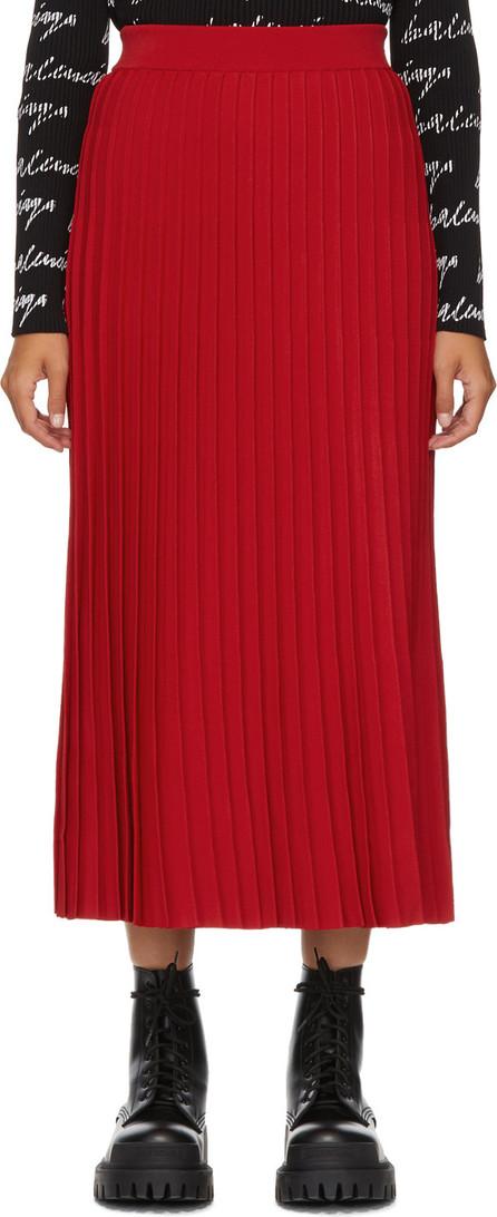 Balenciaga Red Pleated Elasticized Waist Skirt
