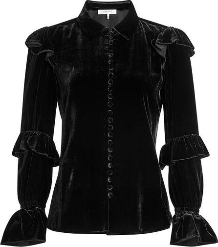 FRAME DENIM Velvet Blouse with Silk