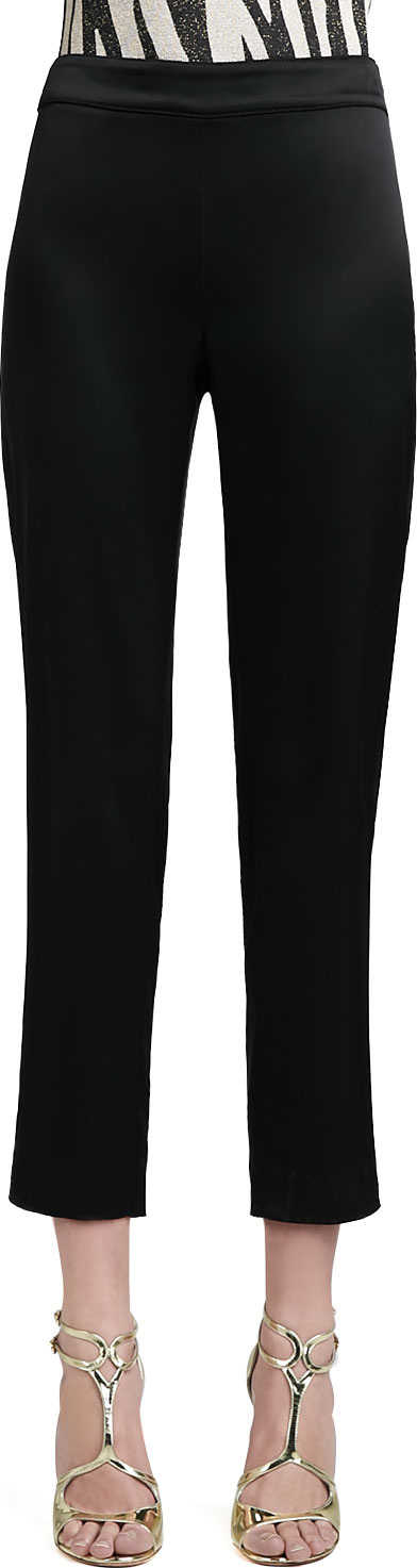 St. John Liquid Satin Side-Zip Cropped Pants