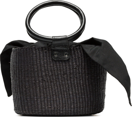 Sensi Studio Black leather handle mini straw basket bag