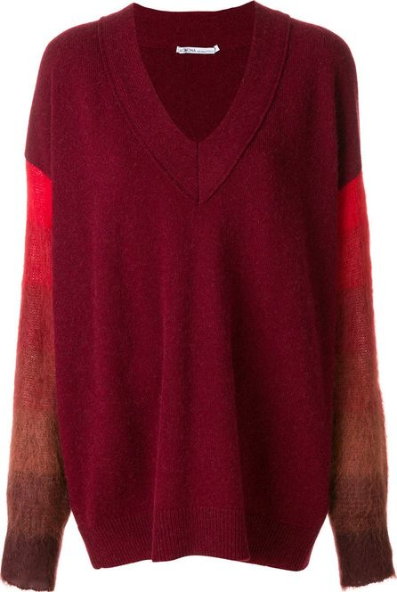 Agnona contrast sleeve fitted sweater