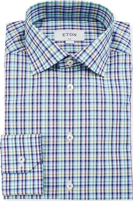 Eton Men's Slim-Fit Tattersall Cotton Dress Shirt