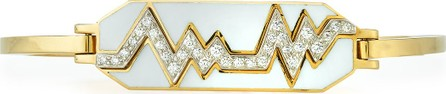 "David Webb ""Motif"" 18k Gold Diamond Skip Zigzag Bracelet with White Enamel & Platinum"