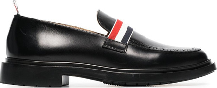 Thom Browne Black web strap leather loafers