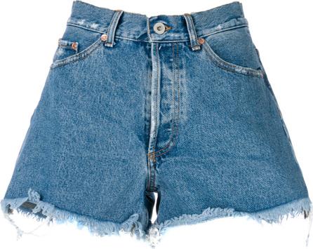 Off White Distressed denim shorts