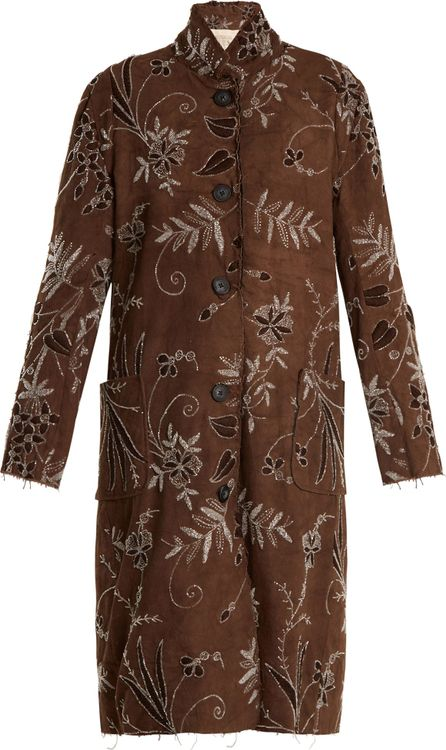 By Walid Lori floral-embroidered cotton coat