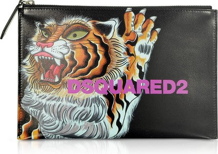 DSQUARED2 Women's Tiger Printed Black Calf Leather Pouch