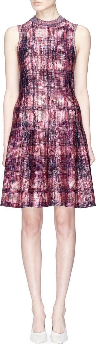 Victoria Beckham Jacquard knit check plaid silk-wool flared dress