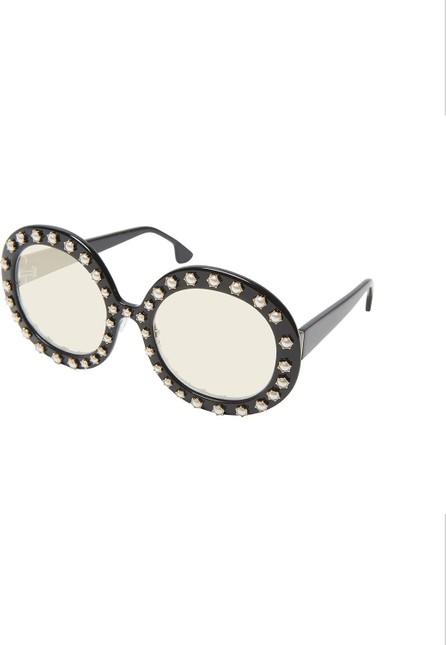 Alice + Olivia Bel Air Round Pearlescent-Trim Sunglasses