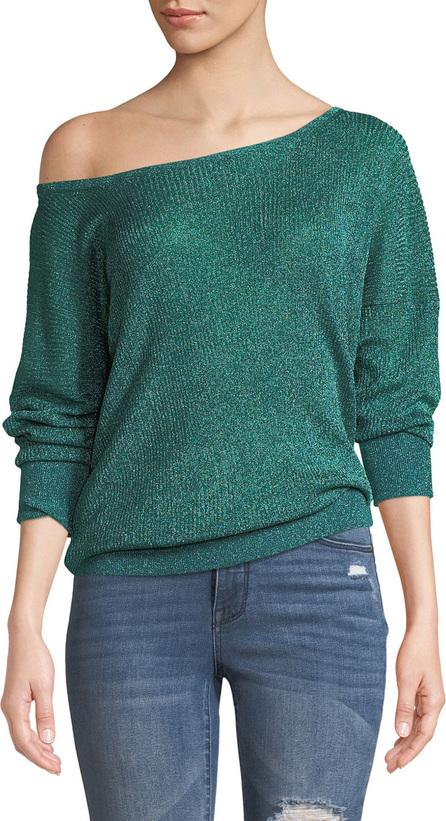 Caroline Constas Ribbed Metallic Boat-Neck Sweater