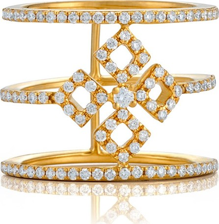 Bessa Three-Row Diamond Illusion Ring in 18K Yellow Gold