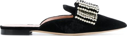 Alberta Ferretti sequinned bow detail slippers