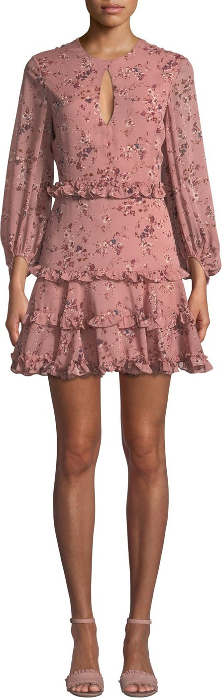 Bardot Ditsy Frill Floral Long-Sleeve Short Dress